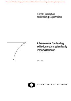 Basel Committee on Banking Supervision A framework for dealing with domestic sys PDF document - DocSlides