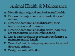 Animal Health & Maintenance PowerPoint PPT Presentation