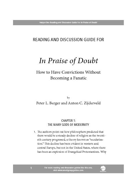 HarperOne Reading and Discussion Guide for In Praise of Doubt ... PowerPoint PPT Presentation