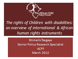 The rights of Children with disabilities: an overview of in PowerPoint PPT Presentation