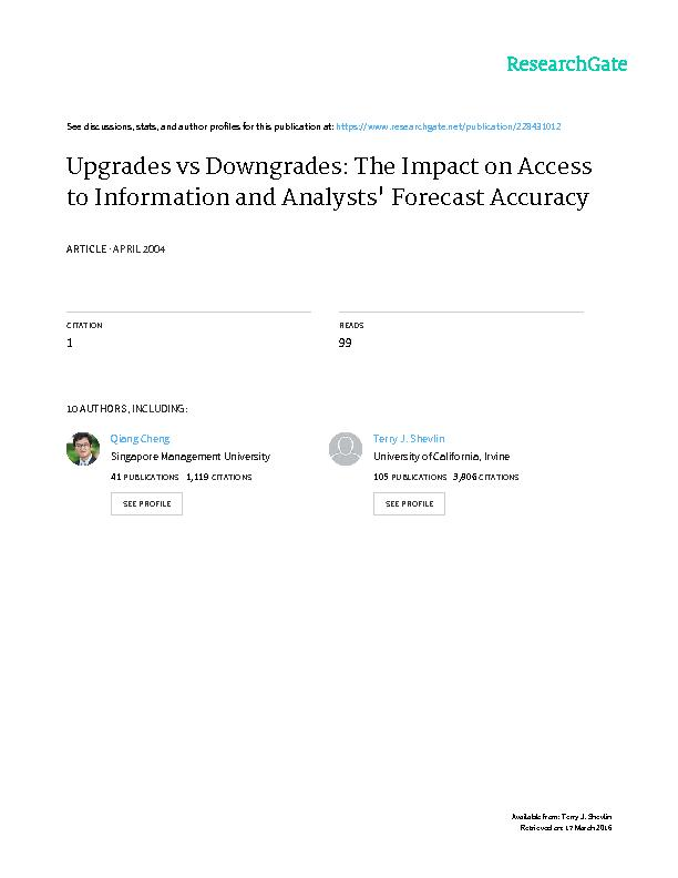 Upgrades vs. downgrades:   The impact on access to informatio∗