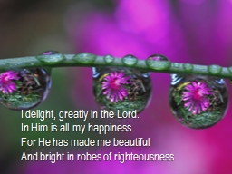 I delight, greatly in the Lord.