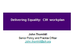 Delivering Equality: CIH