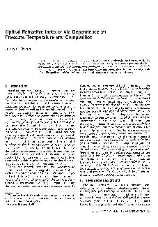 Optical Refractive Index of Air Dependence on Pressure Temperature and Composition James C