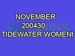 NOVEMBER  200430    TIDEWATER WOMENt