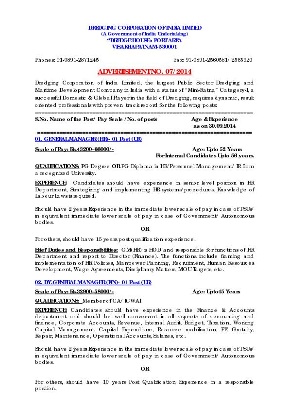 DREDGING CORPORATION OF INDIA LIMITED(A Government of India Undertakin