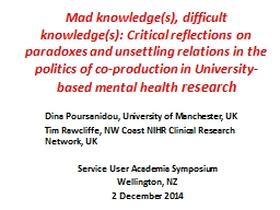 Mad knowledge(s), difficult knowledge(s): Critical reflecti