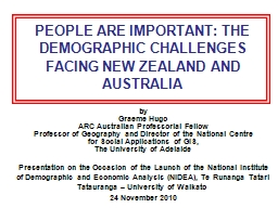 PEOPLE ARE IMPORTANT: THE DEMOGRAPHIC CHALLENGES FACING NEW