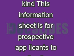 Support in kind This information sheet is for prospective app licants to the Gr