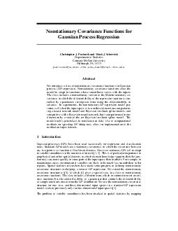 Nonstationary Covariance Functions for Gaussian Process Regression Christopher J