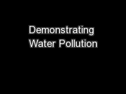 Demonstrating Water Pollution