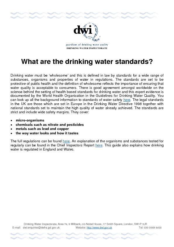 Drinking Water Inspectorate, Area 7e, 9 Millbank, c/o Nobel House, 17