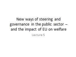 New ways of steering and governance in the public sector  PowerPoint PPT Presentation