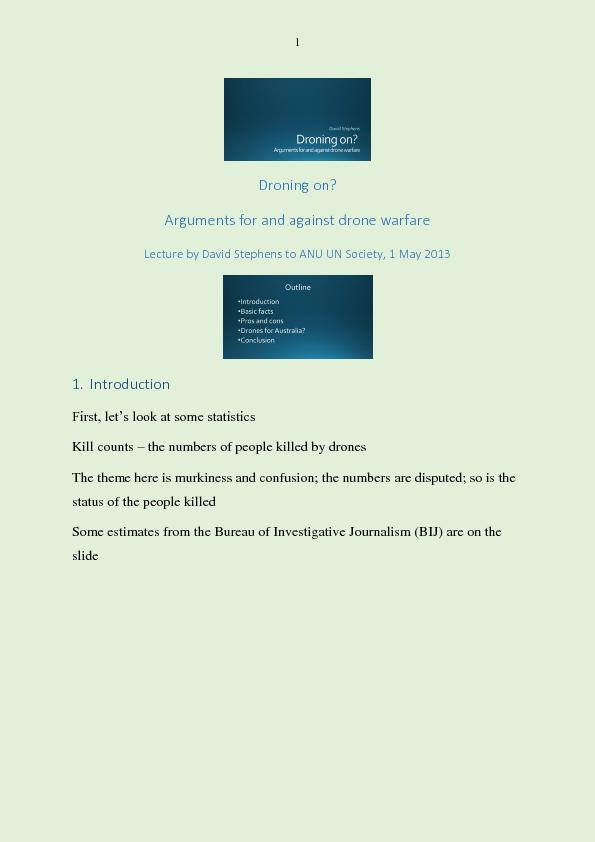 Arguments for and against drone warfare PowerPoint PPT Presentation