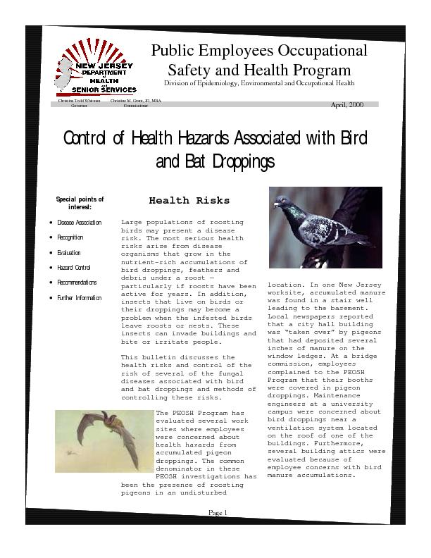Control of Health Hazards Associated with Bird and Bat Droppings  ...