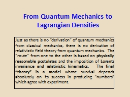 From Quantum Mechanics to PowerPoint PPT Presentation