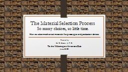 The Material Selection Process PowerPoint PPT Presentation