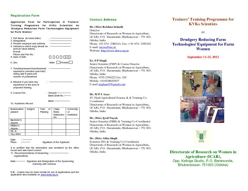 Registration Form Application Form for Participation in Trainers
