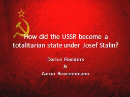 How did the USSR become a totalitarian state under Josef St PowerPoint PPT Presentation