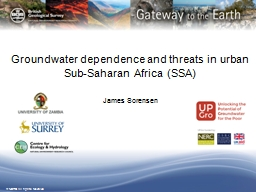 Groundwater dependence and threats in urban Sub-Saharan Afr