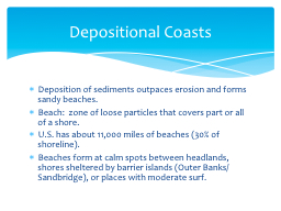 Deposition of sediments outpaces erosion and forms sandy be PowerPoint PPT Presentation
