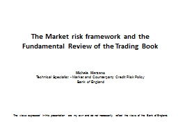 The Market risk framework and the Fundamental Review of the