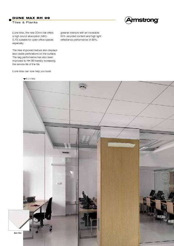 Dune Max, the new 20mm tile offers a high sound absorption (NRC-0.70)