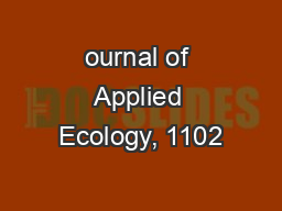 ournal of Applied Ecology, 1102