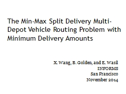 The Min-Max Split Delivery Multi-Depot Vehicle Routing Prob