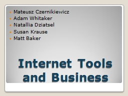Internet Tools and Business