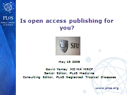 Is open access publishing for you?