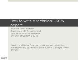 How to write a technical CSCW paper* PowerPoint PPT Presentation