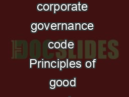 1    Dutch corporate governance code  Principles of good corporate gov