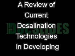 A Review of Current Desalination Technologies In Developing