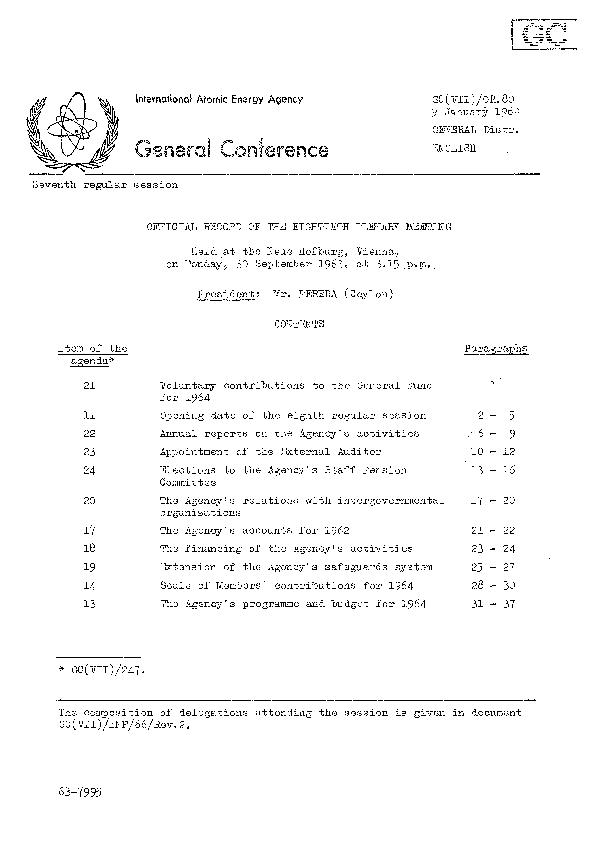 GC(yil)/0E.8pag 2 VOLUNTAR CONTRIBUTION T TH GENERA FUN FO 1964 ' 1 Th