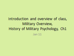 Introduction and overview of class, Military Overview,
