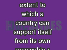Overshoot Index  Overshoot Index  The Overshoot Index assesses the extent to which a country can support itself from its own renewable r esources by measuring current per capita consumption against p