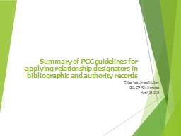 Summary of PCC guidelines for applying relationship designa PowerPoint PPT Presentation