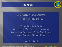 Emergency Regulations