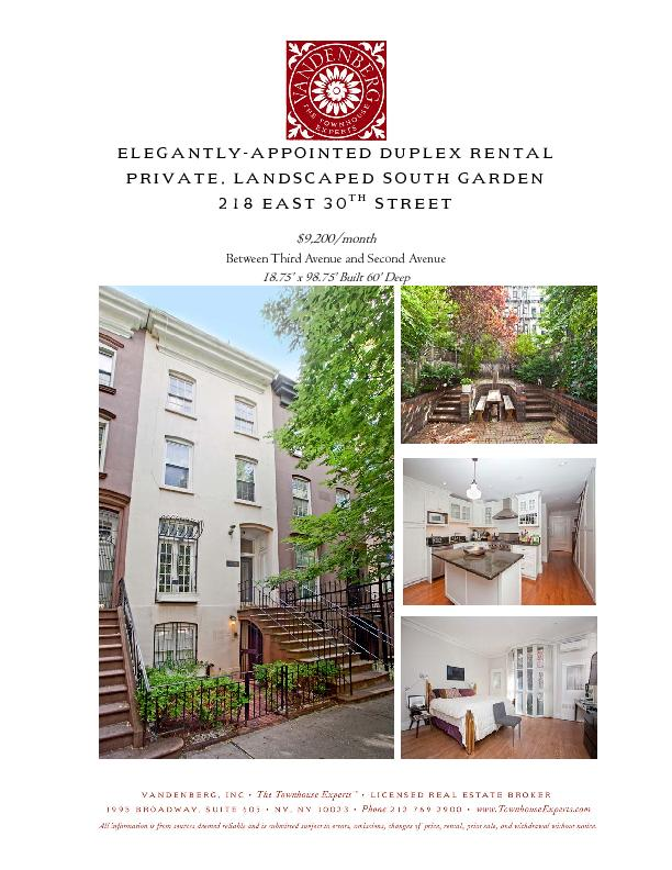 Elegantly-Appointed Duplex Rental Private, Landscaped South Garden 218 PowerPoint PPT Presentation