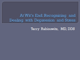 At Wit's End: Recognizing and Dealing with Depression and