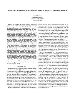 The science of guessing analyzing an anonymized corpus of  million passwords Joseph Bonneau Computer Laboratory University of Cambridge jcbcl