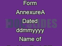 Department of Posts eMO Form AnnexureA Dated ddmmyyyy Name of Booking Post Offic