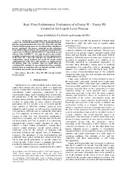 Abstract In this paper a comparative study was carried out to evaluate the realtime performance of fuzzy proportionalintegral plus fuzzy proportionalderivative Fuzzy PI  Fuzzy PD controller with the