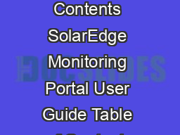 Table of Contents SolarEdge Monitoring Portal User Guide Table of Contents