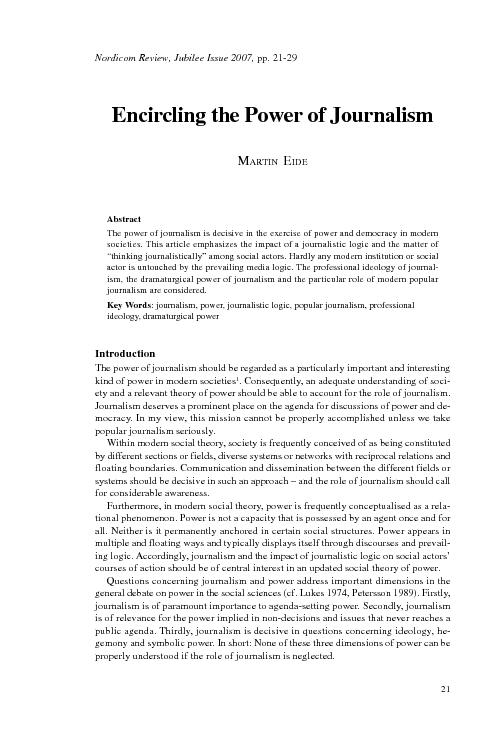 Encircling the power of journalism