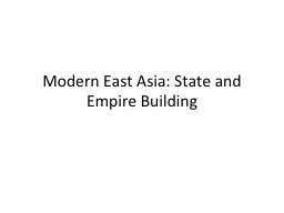 Modern East Asia: State and