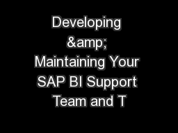 Developing & Maintaining Your SAP BI Support Team and T