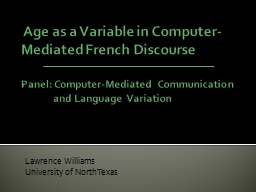 Age as a Variable in Computer-Mediated French Discourse