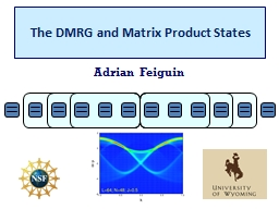 The DMRG and Matrix Product States